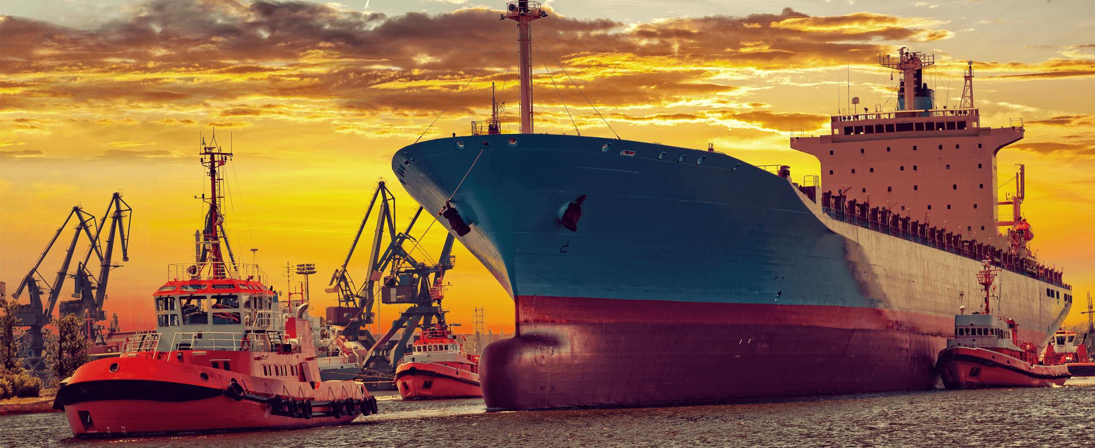 ship + tugboat